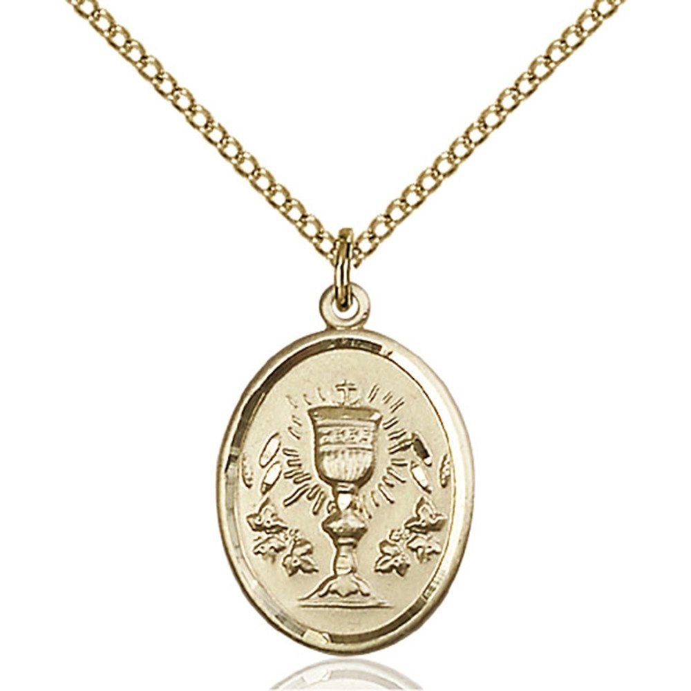 Gold Filled Chalice Pendant 3/4 x 1/2 inches with Gold Filled Lite Curb Chain by Bonyak Jewelry Saint Medal Collection
