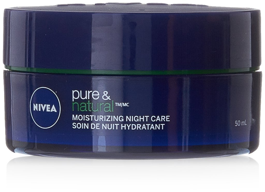 NIVEA Pure & Natural Moisturizing Night Care for All Skin Types, 50mL jar 50mL jar 056594004269