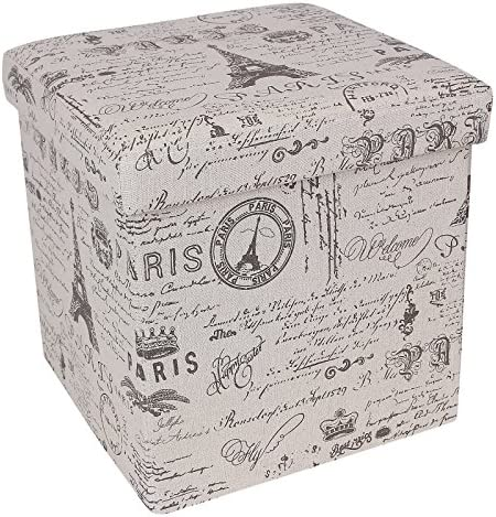 SONGMICS Storage Ottoman Cube Footrest Stool Puppy Step, Holds Up to 660lb, Linen-Like Fabric, Paris Eiffel Tower Script Pattern