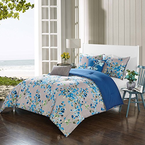 5 Piece Elegant Blue Steel Grey Watercolor Butterfly Pea Floral Printed Comforter Full Queen Set, Blue White Green Mussel Shell Climber Flower Leaf Reversible Navy Solid Color Adult Bedding Polyester