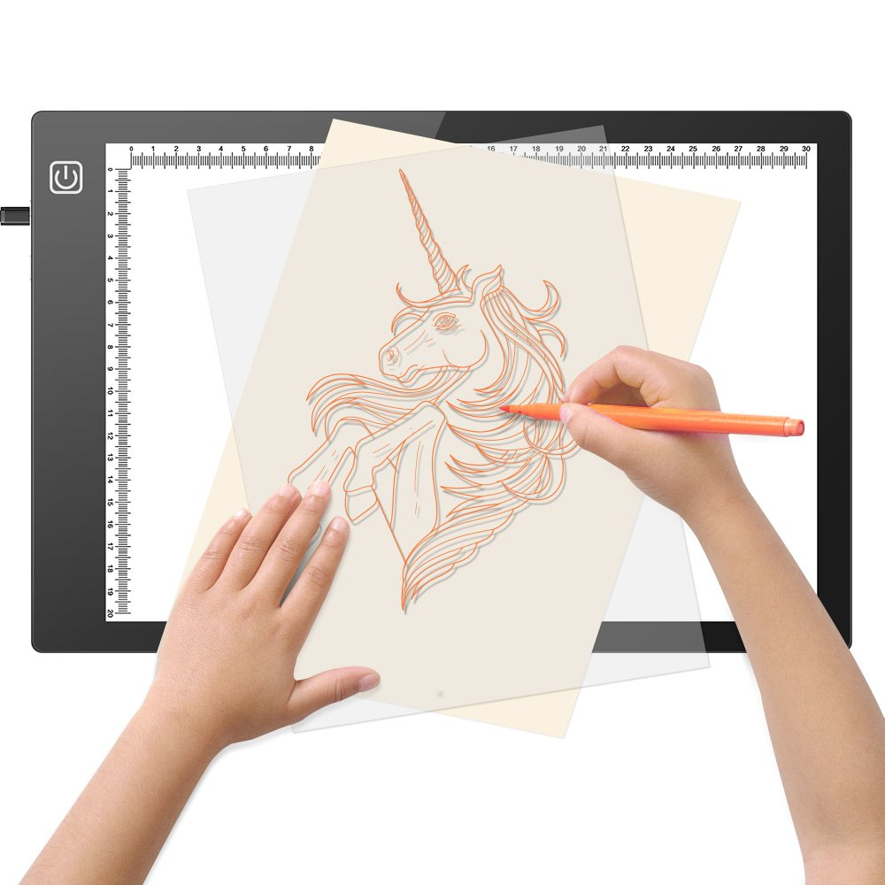 Jhua Tracing Light Box, LED Light Box Tracer A4 Drawing Pad USB Powered Light Table Dimmable Brightness Artcraft Tracing Light Pad for Artists Drawing Sketching Animation Stencilling X-Ray Viewing