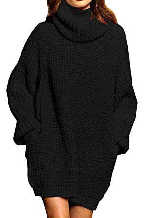 ALBIZIA Women s Baggy Turtleneck Thick Knit Pullover Sweater Dress S Black cbb158b0f