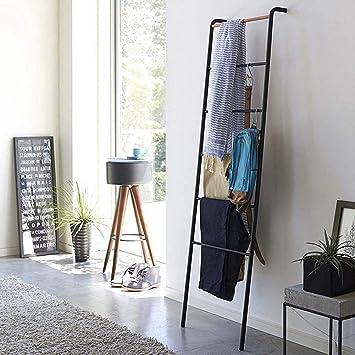 AYHa Perchero de escalera Toallero de hierro de pie contra la pared para el hogar, 45 x 160 cm, 2 colores opcionales,Negro: Amazon.es: Bricolaje y herramientas
