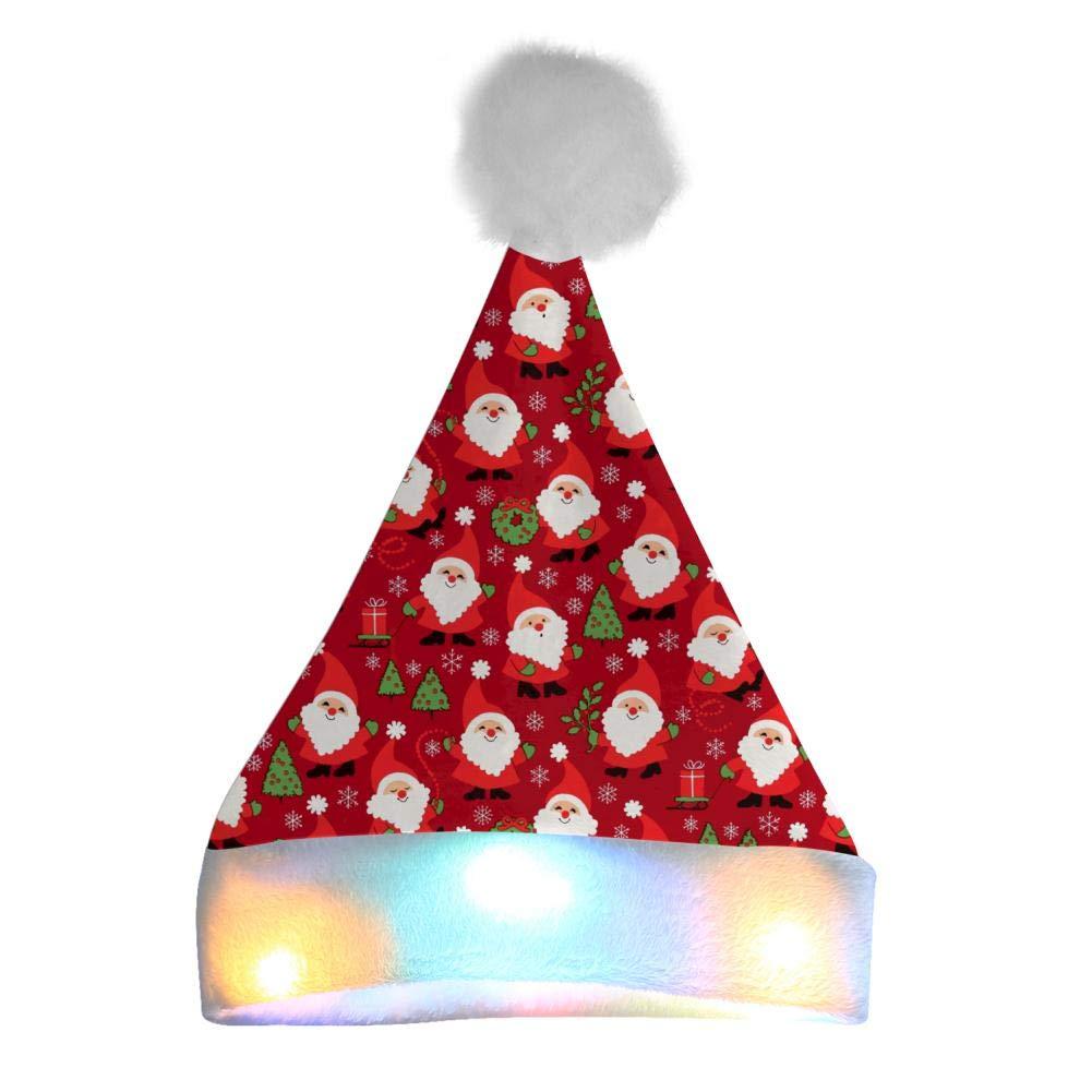 SHDU Christmas Cute Cartoon Santa Santa Hat Colorful Light Up 3D Printin Xmas Christmas Festival Party Costume Gifts White by SHDU