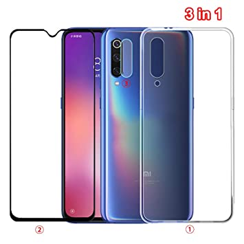 NOKOER Funda para Xiaomi Mi 9 SE, [3 en 1] Silicona Transparente Case + Protector Pantalla + Película Protectora para la Cámara, Protección de 360 Grados Cover para Xiaomi Mi 9 SE: Amazon.es: Electrónica