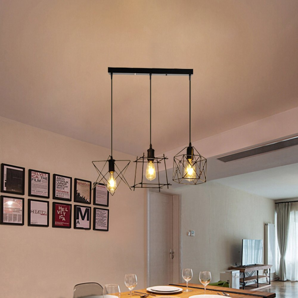 NIUYAO Antique Metal Cage Pendant Lighting Chandelier Rustic Kitchen Linear Island Light 3 Lights by NIUYAO (Image #2)