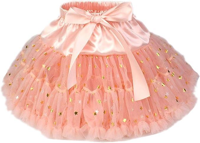 ACVIP - Mini Falda de Tul con diseño de Estrella Dorada para niña ...