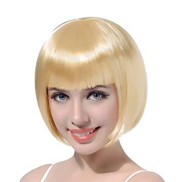 Blond Bob Short Cosplay Flapper Wig Straight Synthetic Hair With Classic Flat Bangs For Women Natural