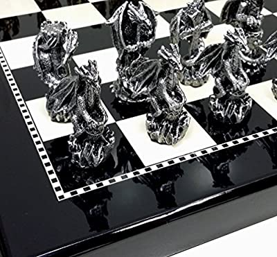 "HPL Dragon Fantasy Pewter Metal Chess Set W/ 15"" Black and White Gloss Board"