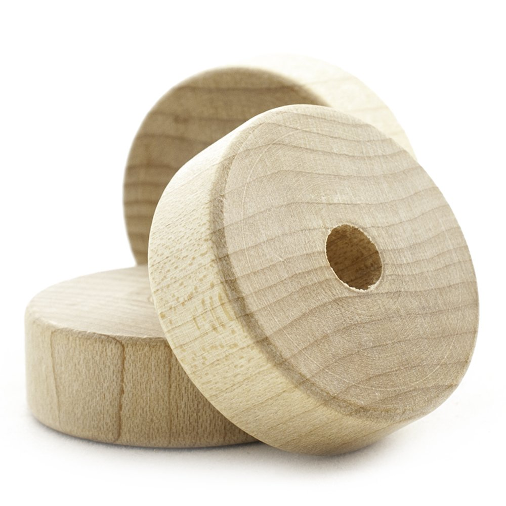 1-1/4'' Flat Wooden Toy Wheel - Bag of 500