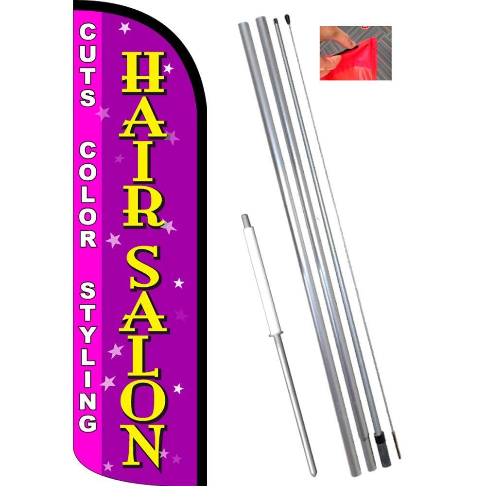 Flag, Pole, Ground Mt Cuts, Color, Styling Vista Flags Hair Salon Windless Feather Banner Flag Kit