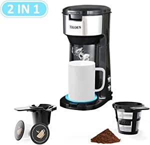 Single Serve Coffee Maker For K-Cup Pods & Ground Coffee, Compact Design 6 to 14 oz Thermal Drip Instant Coffee Machine,2 IN 1 Strength-Controlled and Self Cleaning Function,Black(with Blue Coaster)