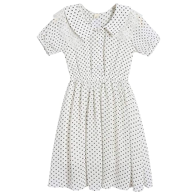 1930s Childrens Fashion: Girls, Boys, Toddler, Baby Costumes Lieto Rana Girls Polka Dot Flower Lace Collar Dress Short Sleeves $29.99 AT vintagedancer.com
