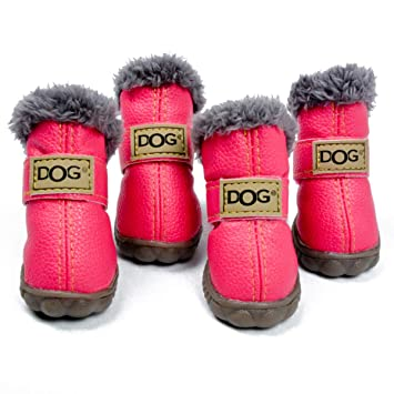 4Pcs//Set Puppy Velcro Waterproof PU Leather Shoes Pet Dog Anti-Slip Warm Protective Boots color: Green,size: XS