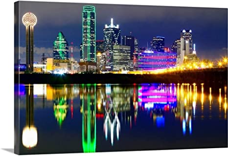 Amazon Com Downtown Dallas Skyline Reflections In The Trinity River Canvas Wall Art Print 36 X24 X1 25 Posters Prints