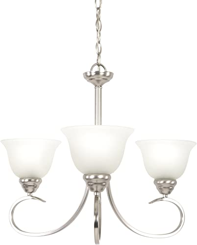 Yosemite Home Decor 93433-3SN Ribbon Fall Collection Three Light Chandelier, 3, Satin Nickel, 63 Piece