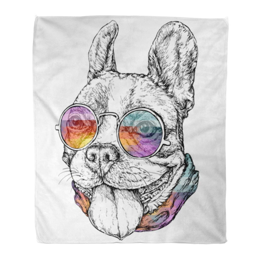 Multi 9 60  W x 80  L Emvency Throw Blanket Warm Cozy Print Flannel bluee Moonlight Silhouette Halloween Night Werewolf Animal Comfortable Soft for Bed Sofa and Couch 60x80 Inches
