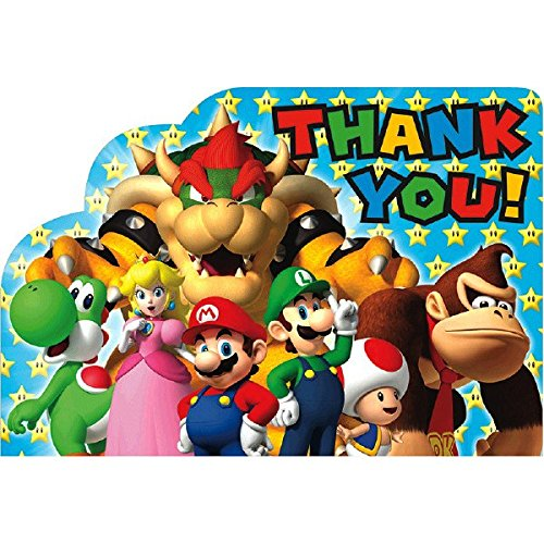 Super Mario Brothers Birthday Party Postcard Thank You Cards, Cardstock, 4