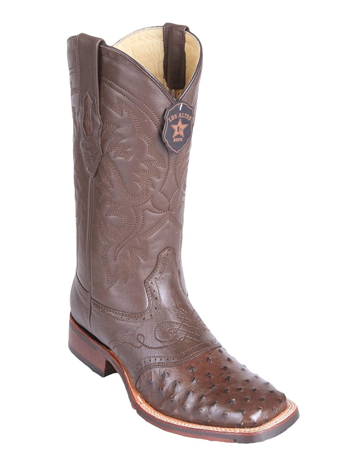Men's Wide Square Toe with Saddle Genuine Leather Ostrich Skin Western Boots