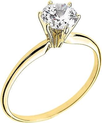 10k Yellow Gold Elegant Cubic Zirconia Solitaire Engagement Ring Amazon Com