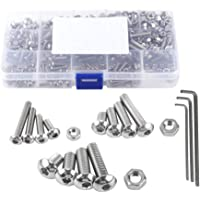 NUZAMAS 440 Pieces M3 M4 M5 304 Stainless Steel Hex Socket Button Head Bolts and Nuts Assortment & Key Wrench Kit with…