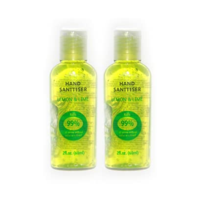 2 x Mejor MANO Calidad HAND SANITIZER DESINFECTANTE Amarillo Limón Perfumado Alcohol Antiviral Antibacterial Rocíe Gel