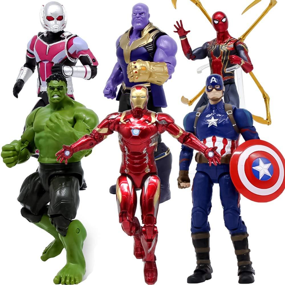 XBWJ Marvel Avengers 3 Action-Figur: Iron Spider-Man, Iron Man, Hulk, Captain America, Ameisen-Mann, Thanos Action-Figur 7 Zoll / Höhe Ca. 18cm, Marvel Toy Set 6