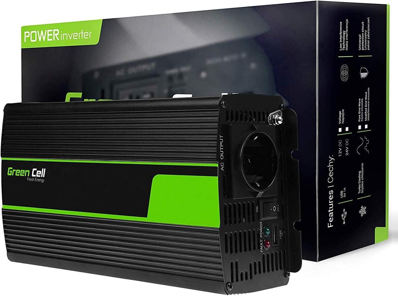 Green Cell® 1000W/2000W Onda sinusoidal Pura Inversor de Corriente Power Inverter DC 24V AC 220V, Transformador de Voltaje para Camion con Puerto USB y Pinzas de conexión a batería