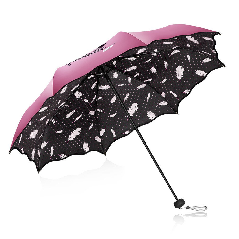 Guoke Sunscreen Uv Protection Umbrellas Vinyl Two Fold Umbrella With A Fine, Pink by Guoke (Image #1)