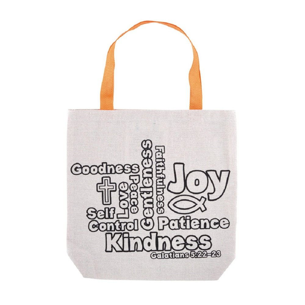 Fruit of the Spirit Color-Your-Own Tote Bag - 12pk