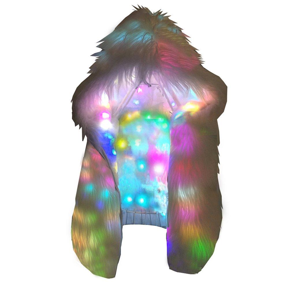 Ohlees® Led Light Up Christmas Party Women Girls Winter Long Fur Vest Coat LED0002