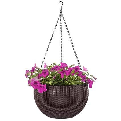 Amazon dia 104 in round self watering hanging planters for round self watering hanging planters for indoor outdoor plants plastic resin workwithnaturefo
