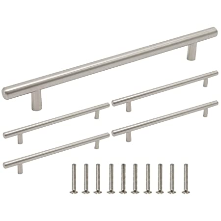 Gobrico 5 Pack Brushed Nickel T Bar Drawer Cabinet Kitchen Handles Pulls,  11-3/10\