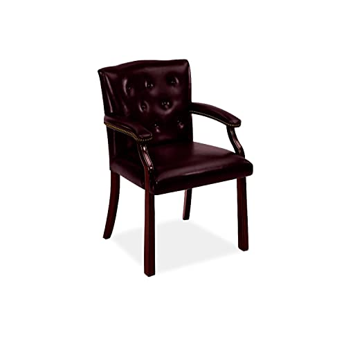 HON 6540 Series Vinyl Guest Chair with Fixed Arms, Wood Frame and Mahogany Finish, Oxblood