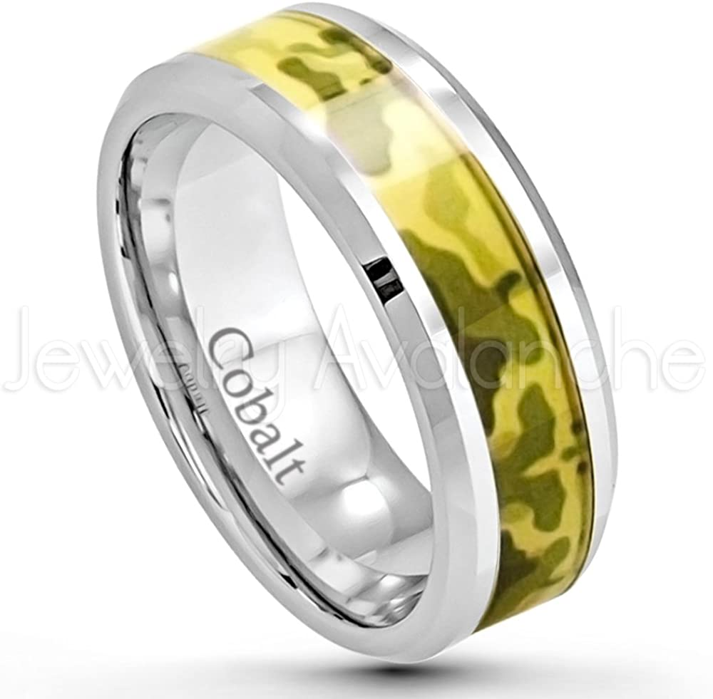 Comfort Fit Cobalt Chrome Ring with Desert Storm Green Camouflage Inlay Jewelry Avalanche Military Inspired Cobalt Wedding Band