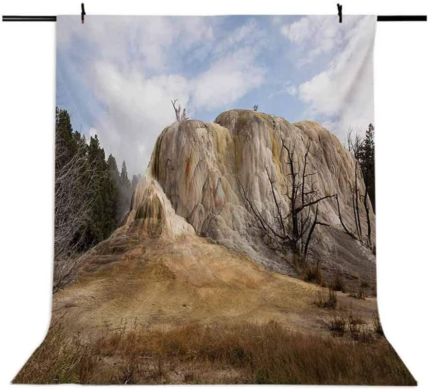 10x15 FT Photography Backdrop Big Rock in Orange Spring Mound Yellowstone Forest Cloudy Sky Scenery Nature Background for Baby Shower Birthday Wedding Bridal Shower Party Decoration Photo Studio