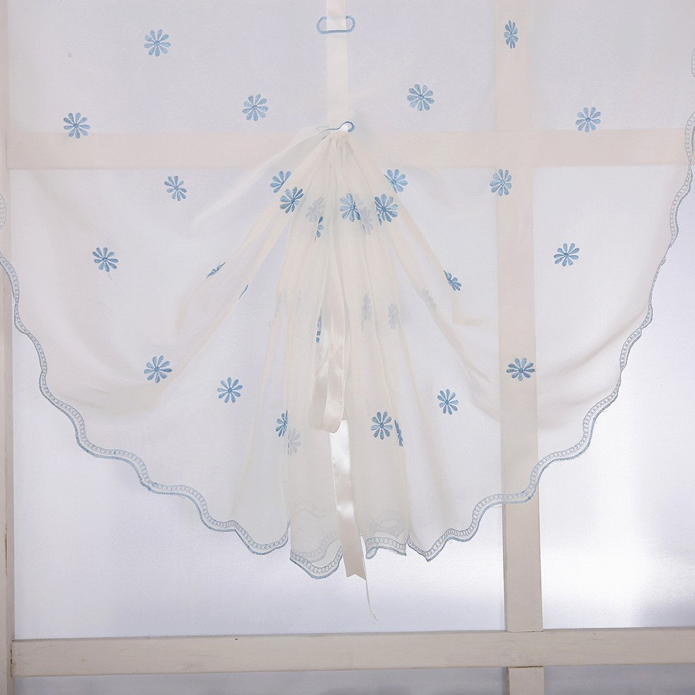 White on Blue Snowflake ZHH Handcrafted Fresh Flora Flowers Embroidered Sheer Roman Shade Curtain 25 by 55-Inch
