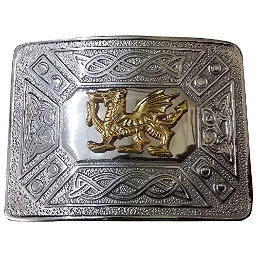 (Scottish Kilt Belt Buckle Celtic Knot Welsh Dragon Antique & Chrome Finish/Irish Dragon Belts Buckles (Welsh Dragon Chrome Finish))