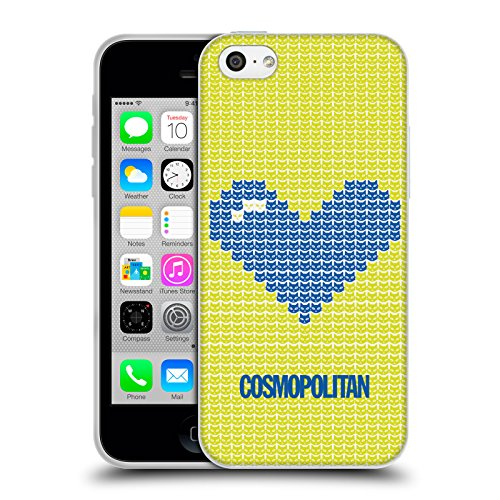 Official Cosmopolitan Blue On Yellow Pixel Heart Lovey Soft Gel Case for Apple iPhone 5c
