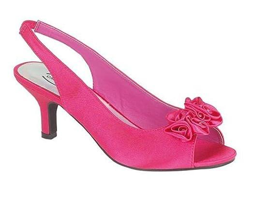 Chic Feet Fuschia / Hot Pink Satin Bridesmaid Bridal Wedding Prom ...