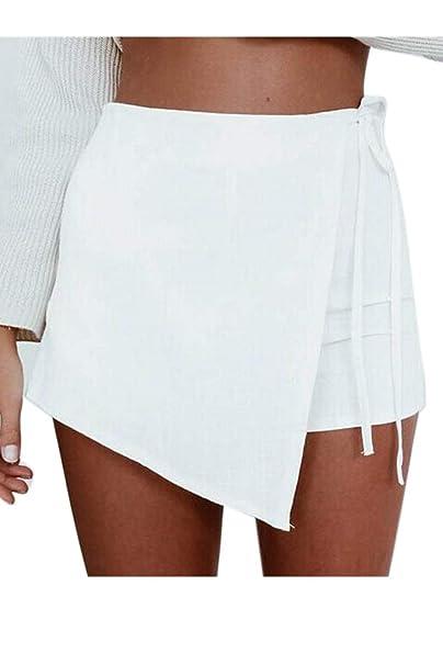 Short Femme Eté Elégante Fashion Taille Haute Irrégulier Asymétrique  Couleur Unie Vintage Fille Vêtements Décontracté Courte Pantalon Pantalon  Chaud  ... c3b75f85f25b