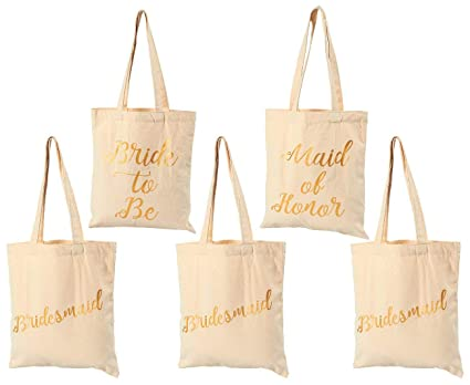 b8d958aca5 Bridal Shower Canvas Tote Bag - 5-Pack Reusable Shopping Bags for Wedding  Favors,