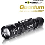 Monster Light 2400 Quantum 1300Lumen led Powered Tactical flash light -Ultra Bright, 5 modes, adustable focus, water resistant for camping/hiking/emergency/hunting/backpacking/cycling/fishing