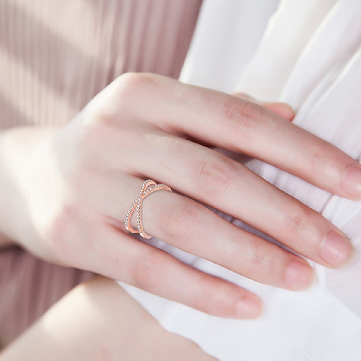 X Ring Sterling Silver, Cubic Zirconia X Criss Cross Ring Women, Size 6-8 (Rose-Gold-Plated-Silver, 7) by SISGEM (Image #3)