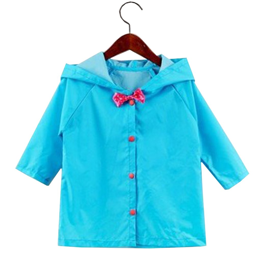 Uniuooi Princess Girls Raincoat Age 2-10 Years Old – Bow Kids Hooded Rain Coat Jacket Waterproof Children Outwear Poncho, Lightweight & Easy Carrying, Size: 2.8-4.3 Feet