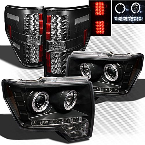 For 2009-2014 Ford F150 Black 2x Halo LED Projector Headlights + LED Tail Lights 2010 2011 2012 2013