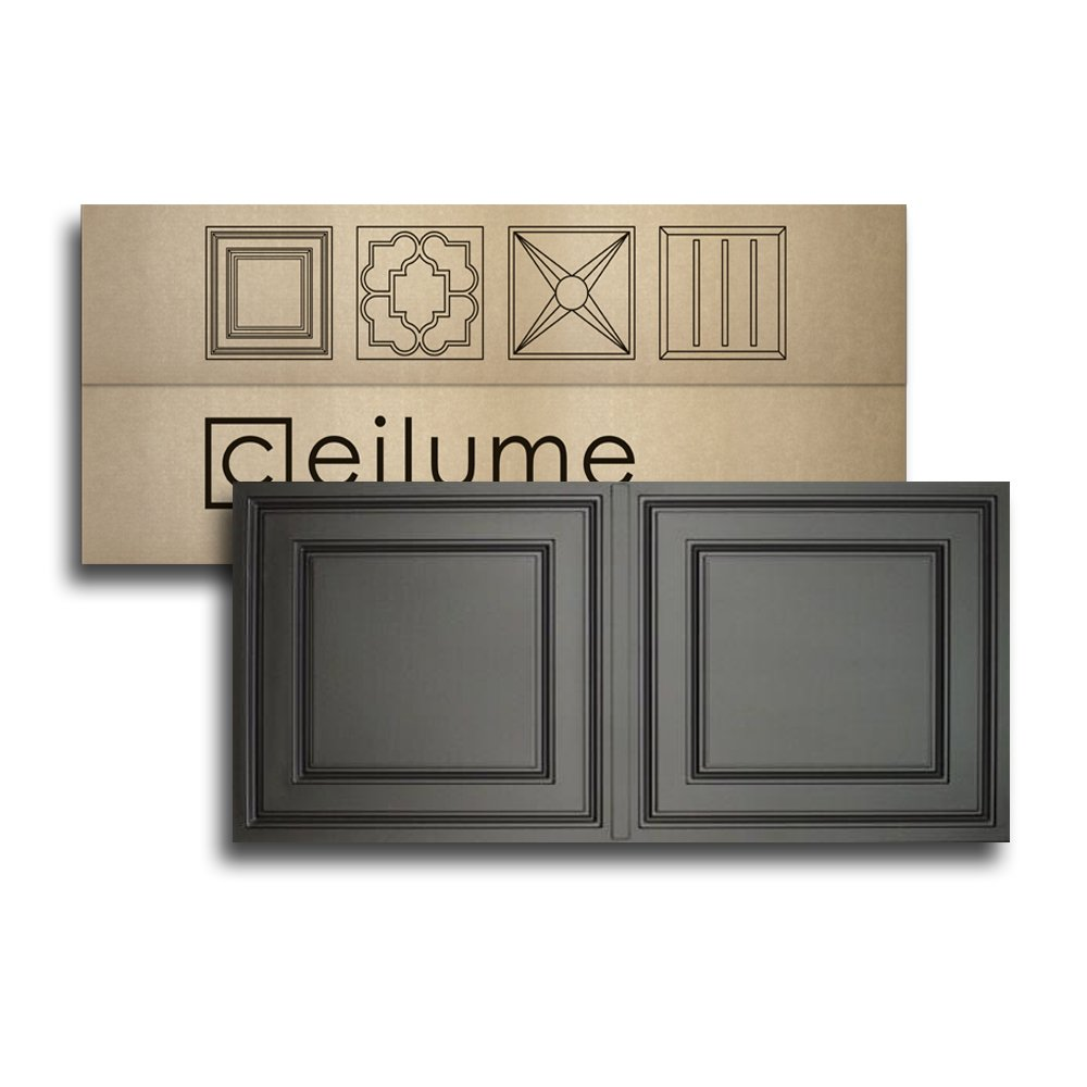 Ceilume 10 pc Stratford Ultra-Thin Feather-Light 2x4 Lay in Ceiling Tiles - for Use in 1'' T-Bar Ceiling Grid - Drop Ceiling Tiles (Black)