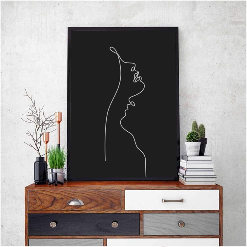 YBlove Rostro de Mujer One Line Drawing Painting Blanco y Negro Minimalista Wall Art Picture Modern Poster Home Room Decoración de Pared 60x90cm Sin Marco