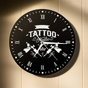 Guokee Old School Art Tattoo Moderno Reloj De Pared Cráneo Y Reloj Tribal Reloj Tienda Salon