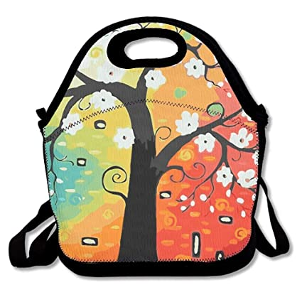 b5be68a20ada Dozili Colorful Life Good Luck Tree Large   Thick Neoprene Lunch Bags  Insulated Lunch Tote Bags